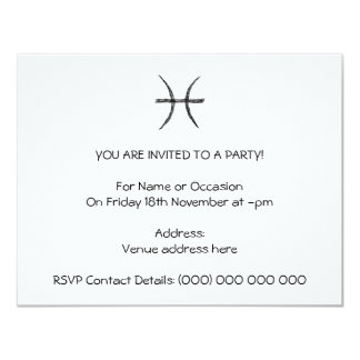Pisces. Zodiac Astrology Sign. Black. Card