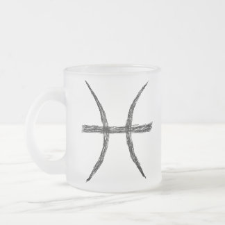Pisces. Zodiac Astrology Sign. Black. Frosted Glass Coffee Mug