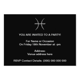 Pisces. Zodiac Astrology Sign. Black. Custom Invitation