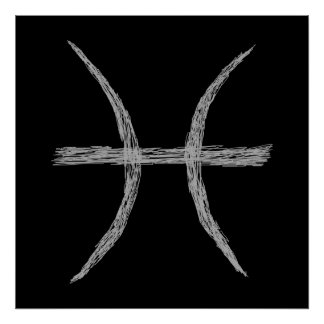 Pisces. Zodiac Astrology Sign. Black. Poster