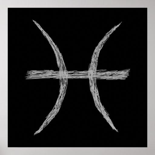 Pisces. Zodiac Astrology Sign. Black. Print