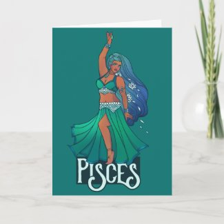 Pisces Zodiac belly Dancer Art Astrology Goddess Card