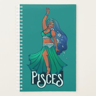 Pisces Zodiac belly Dancer Art Astrology Goddess Planner