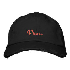 Pisces Zodiac Embroidered Cap / Hat at Zazzle