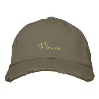 Pisces Zodiac Green Embroidered Cap / Hat Embroidered Hats