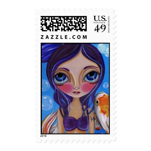 """Pisces (Zodiac Mermaid)"" Postage Stamps"