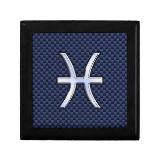 Pisces Zodiac on Blue Carbon Fiber Print Keepsake Box