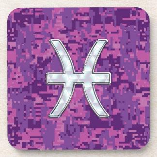 Pisces Zodiac on Fuchsia Pink Digital Camouflage Drink Coaster