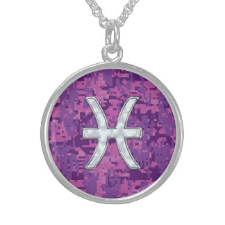 Pisces Zodiac on Fuchsia Pink Digital Camouflage Sterling Silver Necklace
