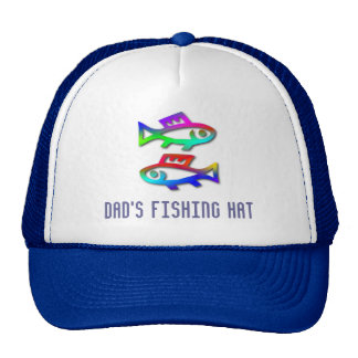 Pisces Zodiac Rainbow Fish Dads Fishing Cap Trucker Hat