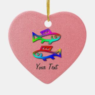 Pisces Zodiac Rainbow Fish Pink Heart Birthday Ceramic Ornament