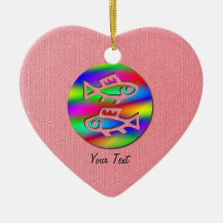 Pisces Zodiac Rainbow Fish Pink Heart Birthday Double-Sided Heart Ceramic Christmas Ornament
