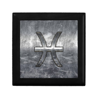 Pisces Zodiac Sign in grunge steel style decor Jewelry Box