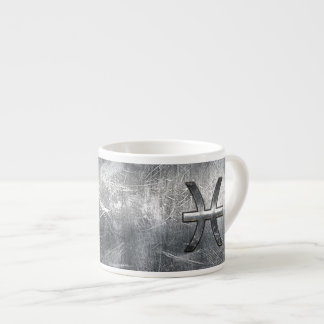 Pisces Zodiac Sign in grunge steel style Espresso Cup