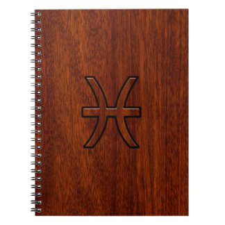 Pisces Zodiac Sign in Mahogany wood grain style Spiral Notebook