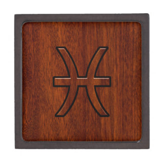 Pisces Zodiac Sign in Mahogany wood style Jewelry Box