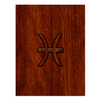 Pisces Zodiac Sign in Mahogany Wood Style Postcard