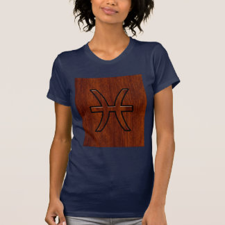 Pisces Zodiac Sign in Mahogany wood style T Shirt