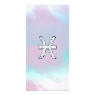 Pisces Zodiac Sign Mother of Pearl style Photo Card