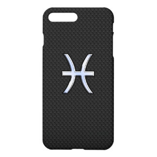 Pisces Zodiac Sign on Black Snake Skin Decor iPhone 7 Plus Case