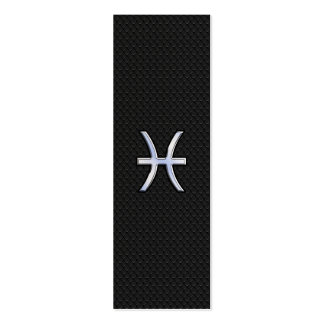 Pisces Zodiac Sign on Black Snake Skin style Double-Sided Mini Business Cards (Pack Of 20)