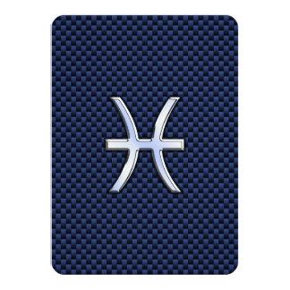 Pisces Zodiac Sign on Blue Carbon Fiber Print Card