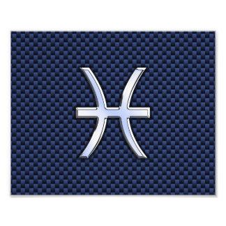 Pisces Zodiac Sign on Blue Carbon Fiber Print Photo Print