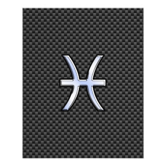 Pisces Zodiac Sign on Carbon Fiber Print Flyer