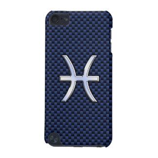 Pisces Zodiac Sign on Navy Blue Carbon Fiber Print iPod Touch (5th Generation) Case
