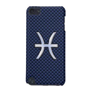 Pisces Zodiac Sign on Navy Blue Carbon Fiber Print iPod Touch (5th Generation) Case