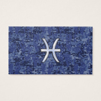 Pisces Zodiac Sign on Navy Blue Digital Camo Business Card