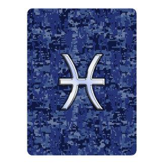 Pisces Zodiac Sign on Navy Blue Digital Camo Card