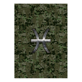 Pisces Zodiac Sign on Woodland Digital Camouflage Large Business Card