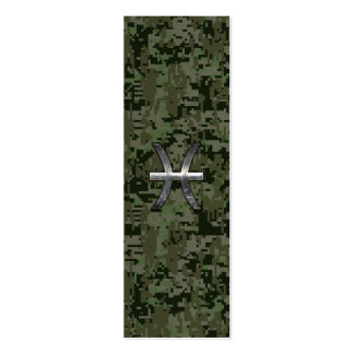 Pisces Zodiac Sign on Woodland Digital Camouflage Mini Business Card
