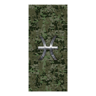 Pisces Zodiac Sign on Woodland Digital Camouflage Rack Card