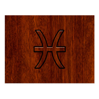 Pisces Zodiac Sign Rich Mahogany wood grain style Postcard