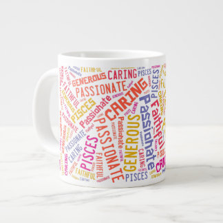 Pisces Zodiac Sign Traits Text Pattern Large Coffee Mug
