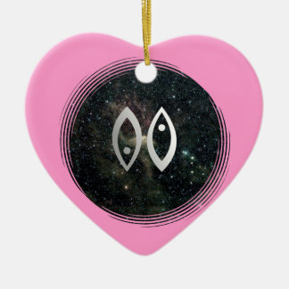 Pisces Zodiac Star Sign Birthday Pink Heart Double-Sided Heart Ceramic Christmas Ornament