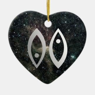 Pisces Zodiac Star Sign Birthday Romantic Heart Double-Sided Heart Ceramic Christmas Ornament