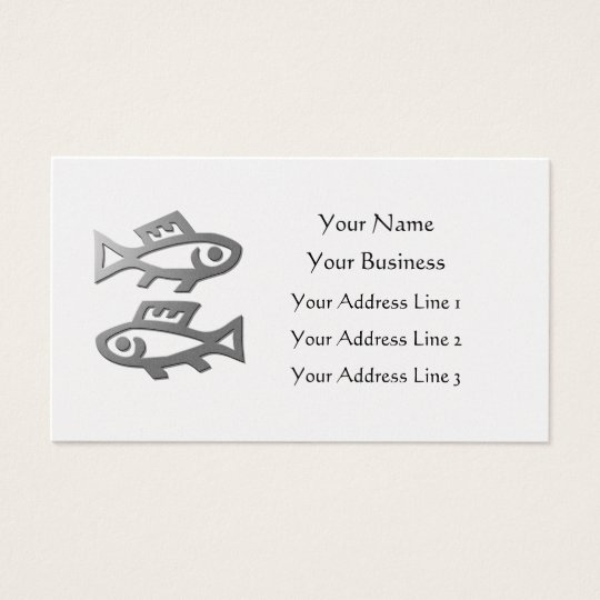 Pisces Zodiac Star Sign In Light Silver On Gold Business Card