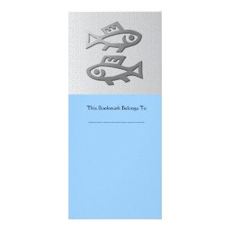Pisces Zodiac Star Sign In Silver Blue Bookmark Rack Card