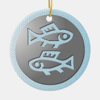 Pisces Zodiac Star Sign Premium Silver Ceramic Ornament