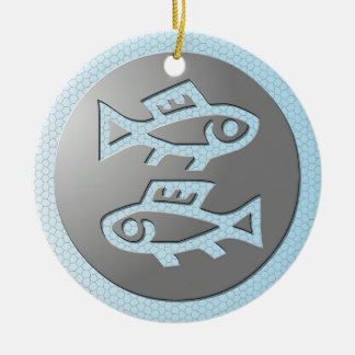 Pisces Zodiac Star Sign Premium Silver Double-Sided Ceramic Round Christmas Ornament