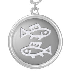 Pisces Zodiac Star Sign Premium Silver Silver Plated Necklace at Zazzle