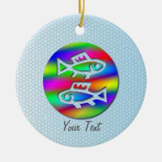 Pisces Zodiac Star Sign Rainbow Fish Birthday Ceramic Ornament