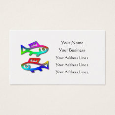 Pisces Zodiac Star Sign Rainbow Fish On Gold Business Card at Zazzle