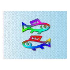 Pisces Zodiac Star Sign Rainbow Fish Postcard at Zazzle