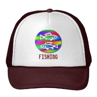 Pisces Zodiac Star Sign Rainbow Sport Fishing Cap Trucker Hat