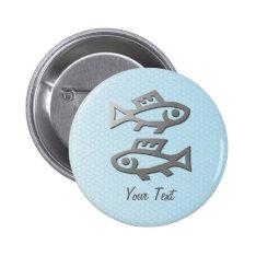 Pisces Zodiac Star Sign Silver Blue Badge Pinback Button at Zazzle
