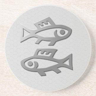 Pisces Zodiac Star Sign Silver Fish Drinks Sandstone Coaster